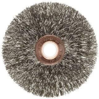 Weiler Copper Center Wire Wheel Brush, Round Hole, Stainless Steel 302, Crimped Wire: Abrasive Wheel Brushes: Industrial & Scientific