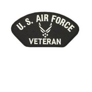 """U.S. AIR FORCE VETERAN """"WINGS"""" BLACK PATCH(Can be sewn or ironed on jacket or hat) Patch 3""""x5""""(2 PATCHES PER ORDER)"""