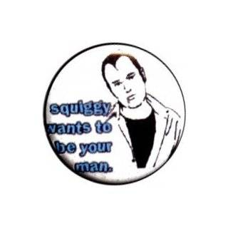 "Laverne And Shirley   Squiggy Wants To Be Your Man (Cartoon On White Background With Blue Font )   1"" Button / Pin: Clothing"