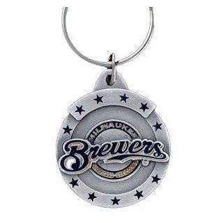 Pewter MLB Team Logo Key Ring   Milwaukee Brewers : Sports Related Key Chains : Clothing