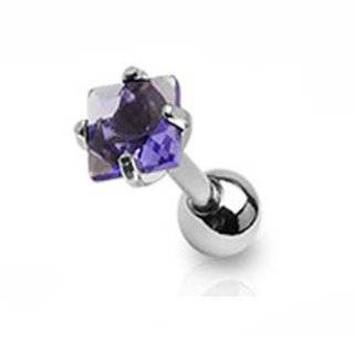 "1   16 Gauge 1/4"" Barbell Tanzanite 5mm Princess Cut Cz Steel Tragus Cartilage Piercing Earring Stud A80: Jewelry"