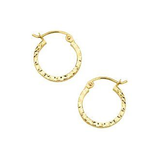 14K Yellow Gold Polished 1.5mm & 20mm Diameter Square Tube Diamond Cut Hoop Earrings: Reeve and Knight: Jewelry