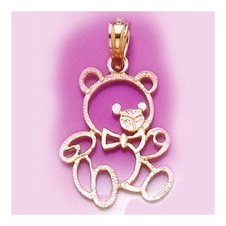 14k Gold Animal Necklace Charm Pendant, Teddy Bear Cut out: Million Charms: Jewelry