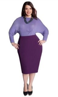 IGIGI Plus Size Michaela Curvy Pencil Skirt in Deep Purple 12: IGIGI: Clothing