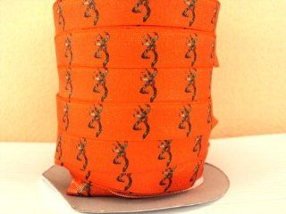 5 yards 5/8 Shiny Orange Camo Deer Head FOE fold over elastic