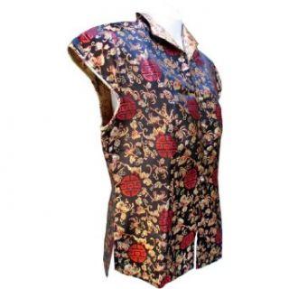 Sirisha Asian Style Silk Blouse, Turn Down Collar, Longevity Pattern, Black/Red/Gold (XXL) at  Women�s Clothing store