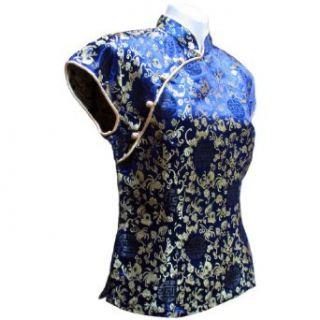 Sirisha Asian Style Silk Blouse, Mandarin Collar, Longevity Pattern, Blue/Gold (Medium): Clothing