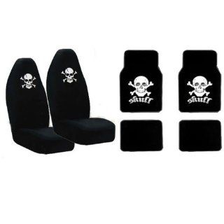 Set of 2 Universal Fit High Back Front Bucket Seat Cover With Embroider Logo   White Cross Skull Crossbone and Matching Floor Mats Automotive