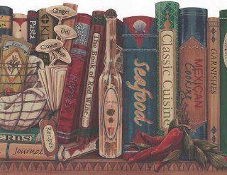 Wallpaper Border Recipe Books & Herbs on Country Kitchen Shelf