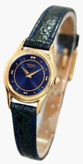 SEIKO Women's Gold tone Blue Faced Watch with Navy Blue Leather Strap. Model SXN706 Watches