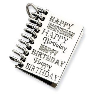 Sterling Silver Personalizable Happy Birthday Card Charm: Jewelry