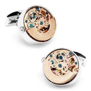 Stainless Steel Kinetic Watch Movement Cufflinks Color: Rose Gold: Penny Black: Jewelry