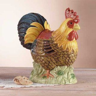 Country Rooster Cookie Jar Decorative Rooster Shaped Cookie Jar   Aspen Country Store Kitchen & Dining