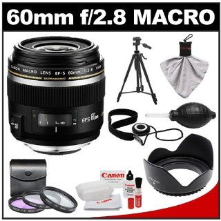Canon EF S 60mm f/2.8 Macro USM Lens with 3 UV/CPL/ND8 Filters + Lens Hood + Tripod + Kit for EOS 6D, 70D, 5D Mark II III, Rebel T3, T3i, T4i, T5, T5i, SL1 DSLR Cameras: CANON: Camera & Photo