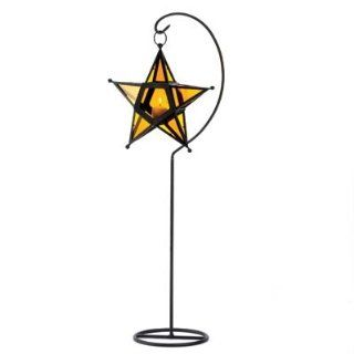 20 WHOLESALE AMBER GLASS STAR LANTERN STAND WEDDING CENTERPIECES   Decorative Candle Lanterns