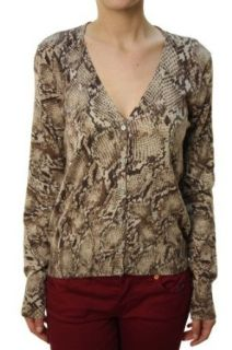 Lucky Brand Women's Button Down Rattle Snake Pattern Blouse Brown: Clothing