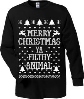 Merry Christmas Ya Filthy Animal Men's Long Sleeve T shirt #B379: Clothing