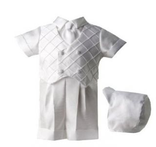 Lauren Madison baby boy Christening Baptism Special occasion Infant Shantung Boxer Short With Diamond Pleated Double Breasted Vest, White, 9 12 Months: Clothing