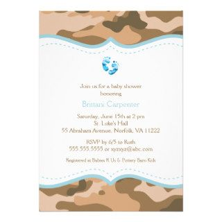 Brown & Blue Camo Baby Shower Invitation with feet