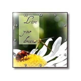 dpp_31467_1 Patricia Sanders Flowers   Live Your Dreams Ladybug and Daisy Inspirational Quotes Macro Flowers   Wall Clocks   10x10 Wall Clock