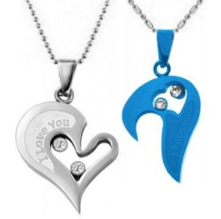 Couple Stainless Steel Necklace Sets I Love You Heart Shape Pendant (Blue & Silver): Clothing