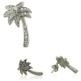 Designer Inspired CZ Palm Tree Sterling Silver Earrings & Pendant Set Designer Inspired Silver Jewelry Jewelry
