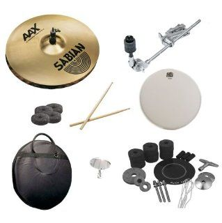 Sabian 14 Inch AAX X Celerator Hats Pack with Cymbal Arm Attachment, Survival Kit, Cymbal Bag, Snare Head, Drumsticks, Drum Key, and Cymbal Felts: Musical Instruments
