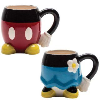 (Set) Mickey & Minnie Mouse Sculpted Coffee Mugs Whimsical Disney Drinkware Kitchen & Dining