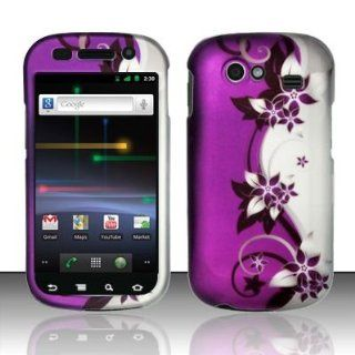 For Samsung Nexus S 4G i9020 (T Mobile/Sprint) Rubberized Purple/Silver Vines Design Snap on Protector Hard Case