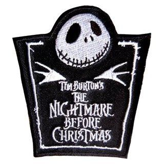 THE NIGHTMARE BEFORE CHRISTMAS 6837 Jack Skellington Bust with Logo Embroidered Patch: Clothing