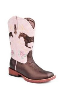 Roper Girls' Glittery Horse Inlay Cowgirl Boot: Shoes