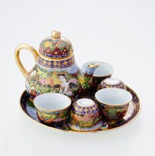 "Thai Benjarong Art Handpainted Royal Porcelain Pottery Tea Pot Cup Plate Set "" Songkran Festival Drawings"""