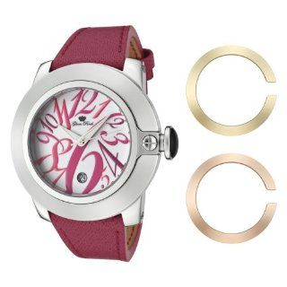 Glam Rock Women's GR32081 SoBe White Dial with Multi Colored Numerals Dark Pink Leather Watch: Watches