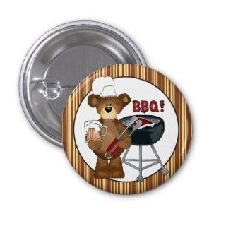 Cartoon Hillbilly Bear BBQ Button