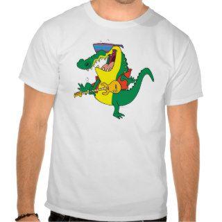 funny rock and roll crocodile music cartoon t shirt