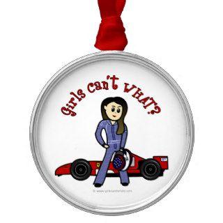 Light Race Car Driver Girl Christmas Tree Ornaments