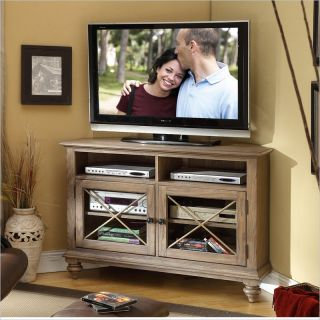Riverside Furniture Coventry Corner TV Console in Weathered Driftwood   32444