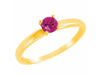 Ryan Jonathan 10K Yellow Gold Round Solitaire Pink Sapphire Ring (0.45 cttw)