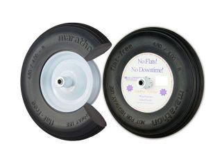 Marathon Industries 4.80/4.00 8 Inch Flat Free Wheelbarrow Tire With Ribbed Tread   15.5 Inch