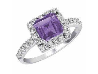Ryan Jonathan Sterling Silver Square Created Tanzanite and Diamond Ring