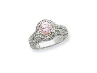 Sterling Silver Round Pink & White CZ Ring