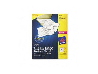 Avery                                    Clean Edge Laser Business Cards, 2 x 3 1/2, Ivory, 10/Sheet, 200/Pack