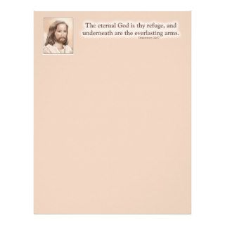 Sepia Jesus Art Bible Quote   Deuteronomy 33:27 Letterhead Design