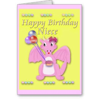Happy Birthday Niece, Pink Dragon Greeting Cards