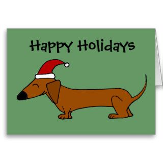 Funny Dachshund in Santa Hat Christmas Cartoon Card