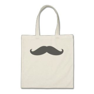 Charcoal Gray Funny Hipster Mustache Tote Bag
