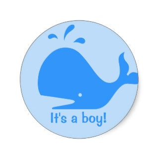 Blue whale cartoon stickers for baby showers