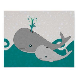 Cute Grey Baby Whale on the Waves Cartoon Posters