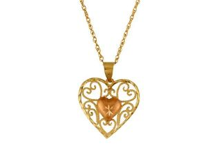 10Kt Gold Filigree Heart W/Rose Gold Heart Pendant