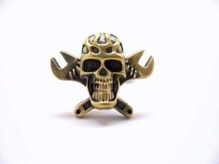Antique Brass Tone Skull and Cross Monkey Wrench Gear Head Cufflinks Cuff Links